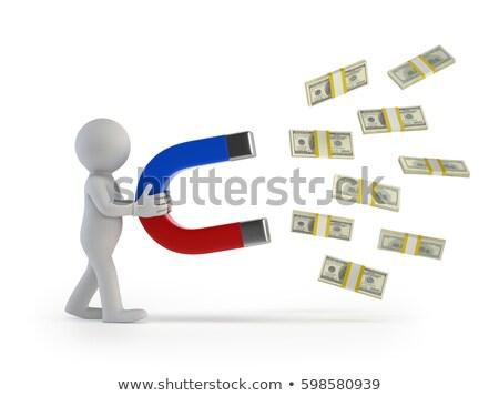 3D kicsi emberek pénz mágnes személy Stock fotó © AnatolyM