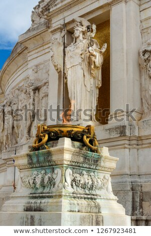 soldiers guard the tomb of the unknown soldier at the altare della patria monument in rome italy stock photo © photocreo