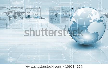 földgömb · számítógép · billentyűzet · kék - stock fotó © devon