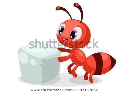 赤 アリ キューブ 砂糖 実例 ストックフォト © bluering