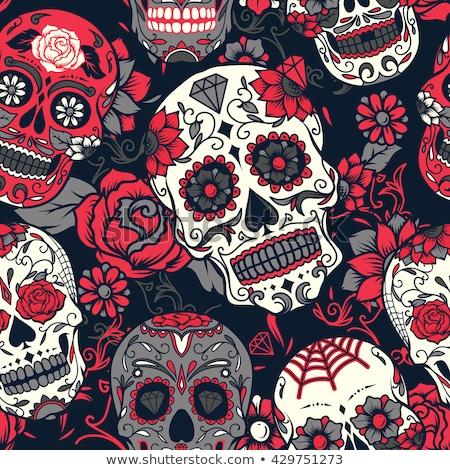 Seamless pattern with skull, vector illustration Stock photo © carodi