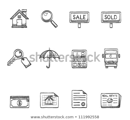 chave · casa · esboço · ícone · vetor · isolado - foto stock © RAStudio