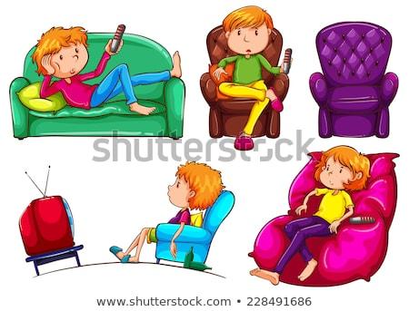 Szkic leniwy chłopca ilustracja biały telewizji Zdjęcia stock © bluering