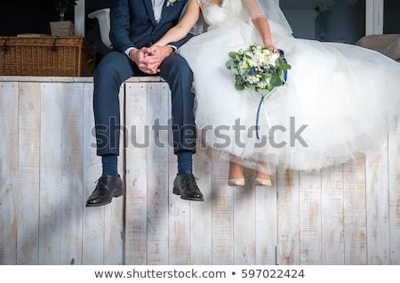 Feliz romántica novia vestido de novia campo Foto stock © Victoria_Andreas