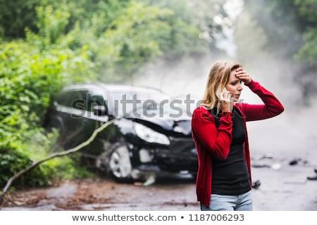 Autó roncs tűz autók köd biztosítás Stock fotó © Photofreak