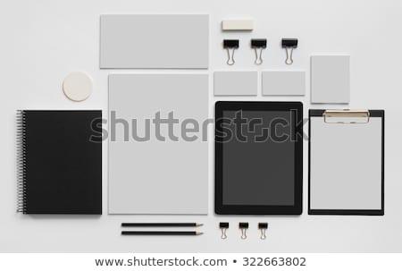Mozdulatlan szett papír tollak illusztráció könyv Stock fotó © bluering