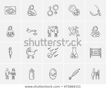 грудное вскармливание эскиз икона вектора изолированный рисованной Сток-фото © RAStudio