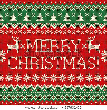 vecteur · Noël · frontière · tricoté · modèle · isolé - photo stock © carodi
