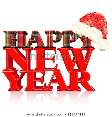 artistic red glossy new year text stock photo © pathakdesigner
