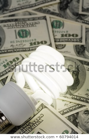 Stockfoto: Compact Fluorescent Ligh Tbulb And Dollar