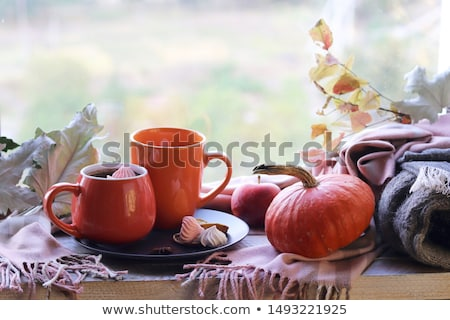 Kettő csészék eszpresszó csokoládés sütemény reggel dohányzóasztal Stock fotó © dariazu