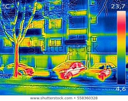 Thermal image showing parked cars in front of the apartment buil Stock photo © smuki