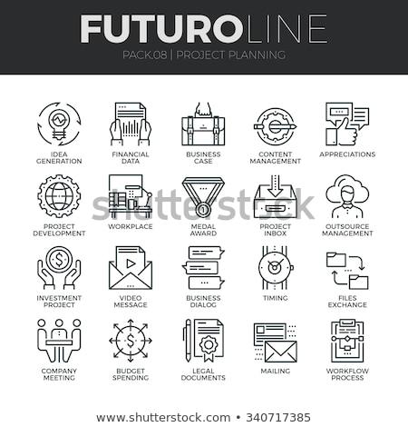File scambio line infografica metafora icone Foto d'archivio © RAStudio