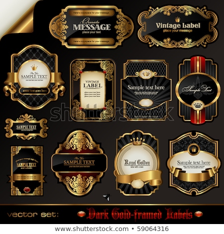 Foto stock: Dark Gold Framed Decorative Design Elements - Vector Set