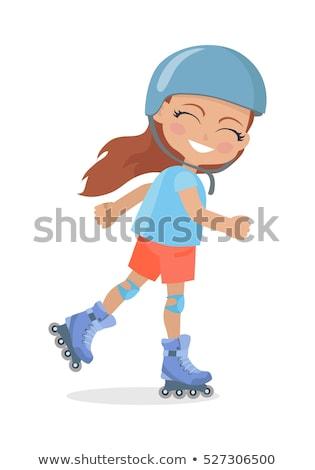 Menina longo cabelo castanho capacete patinação bom Foto stock © robuart