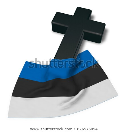 christian cross and flag of estonia - 3d rendering Stock photo © drizzd