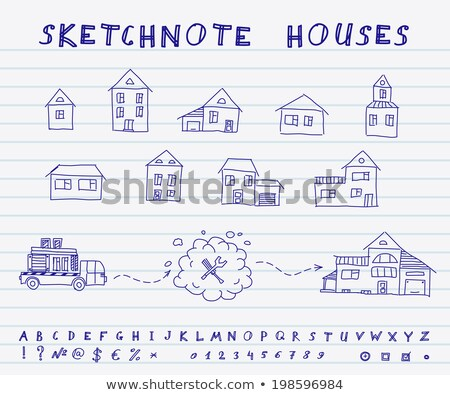 doodle house on truck icon stock photo © pakete