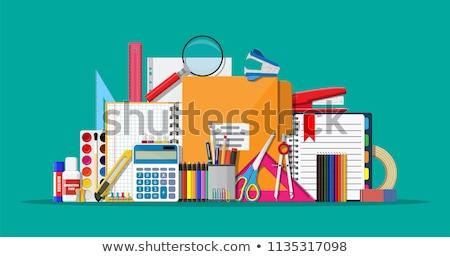 Materiały biurowe zielone tabeli pracy tle biurko Zdjęcia stock © racoolstudio