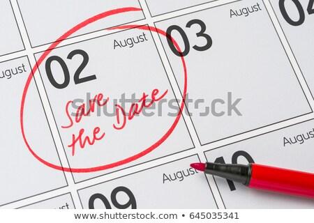 Foto stock: Guardar · fecha · escrito · calendario · agosto · fiesta