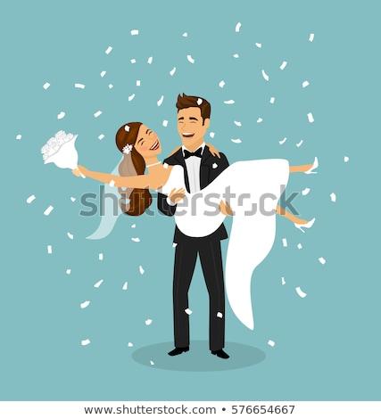 jóvenes · feliz · recién · casados · novia · novio · vector - foto stock © curiosity
