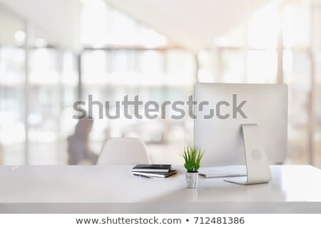 Stock fotó: Irodai · asztal · számítógép · készlet · felső · kilátás · űr