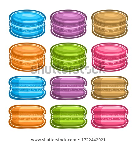 front view of sweet various macaroons isolated on white Stock photo © LightFieldStudios