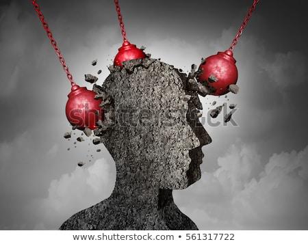 Diagnoza migrena medycznych 3d ilustracji muzyka czerwony Zdjęcia stock © tashatuvango