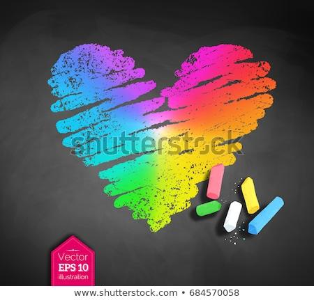 Boceto arco iris corazón vector pizarra Foto stock © Sonya_illustrations