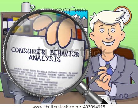 потребитель поведение анализ увеличительное стекло человека сидят Сток-фото © tashatuvango