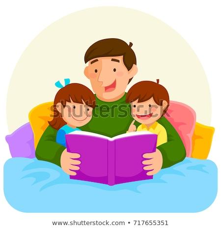 man · lezing · boek · bed · zijaanzicht · knap - stockfoto © wavebreak_media