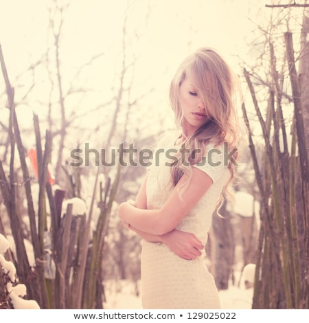 mooie · jonge · blonde · vrouw · kleurrijk · sneeuw · jas - stockfoto © traimak