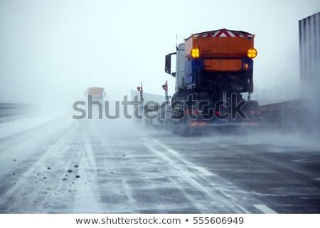 branco · caminhão · gelo · estrada · nevasca · carro - foto stock © ssuaphoto