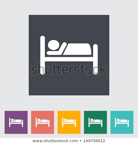 Hotel icono blanco casa habitación web Foto stock © smoki