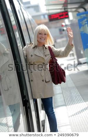 Idős nő boldog elvesz villamos nők Stock fotó © FreeProd