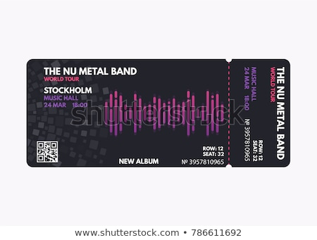 vector illustration black rock concert ticket design template with black guitar and cool grunge effe stock photo © zoa-arts