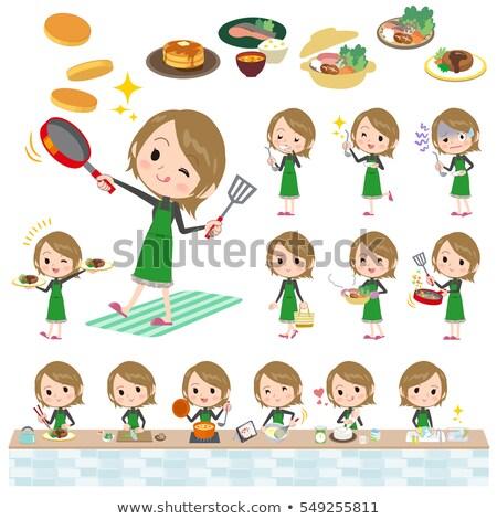 Kort haar zwarte hoog vrouw koken ingesteld Stockfoto © toyotoyo