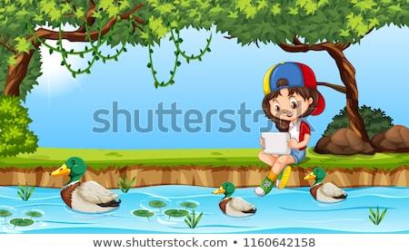 Ipad пруд иллюстрация счастливым ребенка Сток-фото © bluering