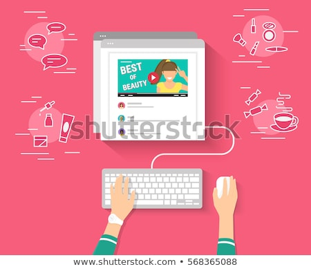 Hand using mouse with human networking concept Stock photo © ra2studio