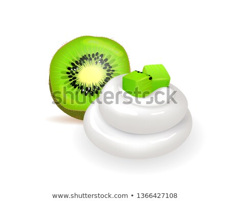 Soft Whipped Cream and Fresh Juicy Half of Kiwi Stock photo © robuart