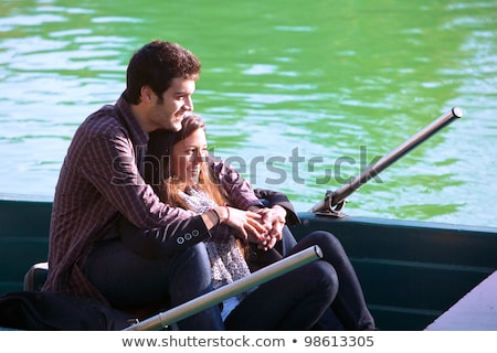 close up portrait of romantic couple boating on the lake stock photo © boggy