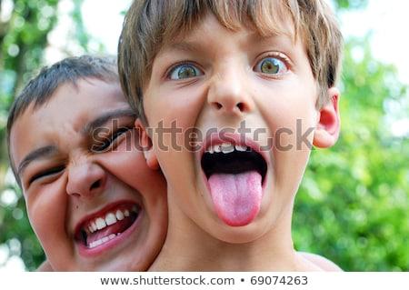 Gyerek fiú készít őrült arc illusztráció Stock fotó © lenm