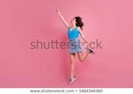 Teljes alakos fotó báj csinos nő göndör haj fürdőruha Stock fotó © deandrobot