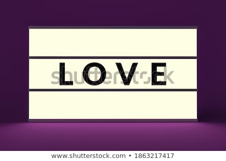 Vintage Glow Signboard with Love Inscription Stock photo © lissantee