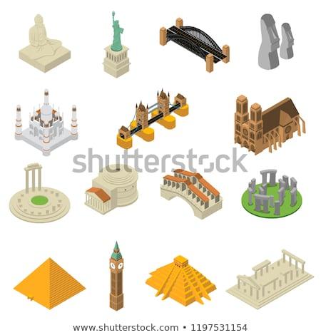 egyiptomi · piramisok · narancs · áll · teve · tájkép - stock fotó © robuart