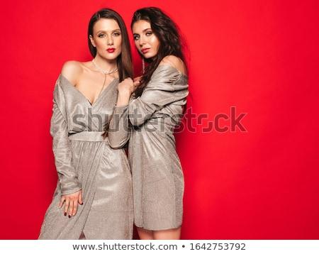 szexi · nő · vörös · ruha · napszemüveg · pózol · kint · divat - stock fotó © acidgrey