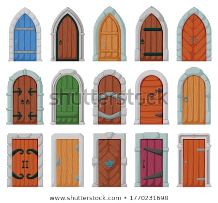 Stock photo: Closed old vintage wooden door