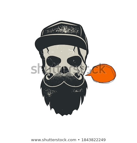 grunge hipster skull emblem with quote bubble cap and beard stylish vintage hand drawn design sto stock photo © jeksongraphics
