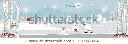 Stock fotó: Vidám · karácsony · mikulás · korcsolya · hó · jelenet