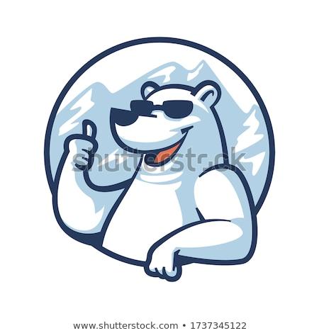 Beautiful retro Christmas card with polar bear Stok fotoğraf © balasoiu