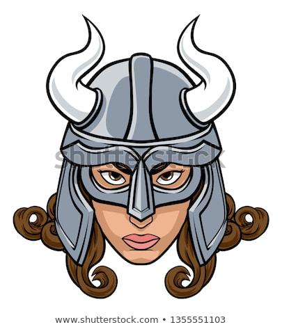 lány · viking · rajz · illusztráció · áll · mosolyog - stock fotó © cthoman